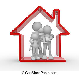 Family house - 3d people - human character, person and a...