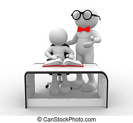 Teacher and student - 3d people - human character, person...