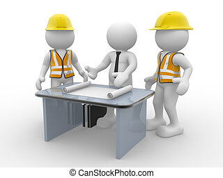 3d people - human character, person and a office with working draft. Engineer and businessman. Teamwork. 3d render