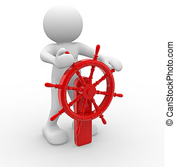 Helmsman - 3d people - human character - person and an helm....