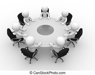 3d people - human character, person at the conference table. Meeting. 3d render illustration