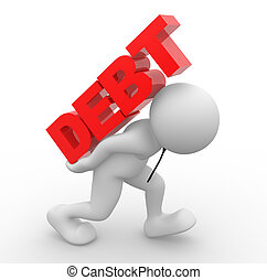 """3d people - human character, person carrying word """"debt"""" on his back. Debt concept. 3d render"""