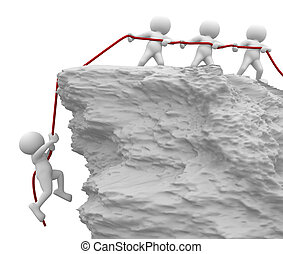 3d people - human character, person pulled the rope from the cliff. Helping, saved . 3d render