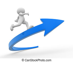 Success - 3d people - human character, person running on a...