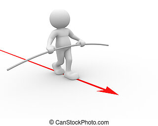 3d people - human character - person walking on a arrow. Acrobat balancing. 3d render