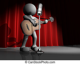 Guitarist - 3d people - human character, person with...