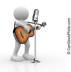 Guitarist - 3d people - human character, person with ...