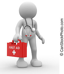 Doctor - 3d people - human character, person with first aid...