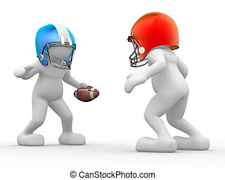 American football player - 3d people - human character,...