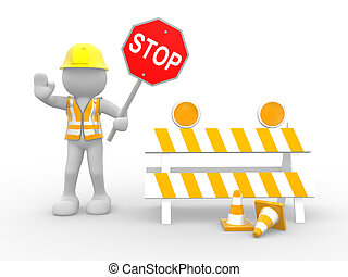 Construction worker - 3d people - human character, person...