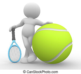 Tennis player - 3d people - human character, person with...
