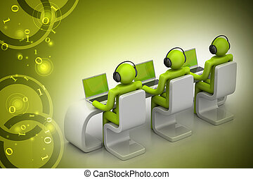 3d people in a modern desk with laptop