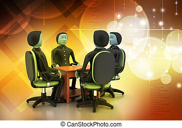 3d people in business meeting