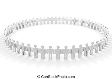 3D people in circle. Computer generated image.