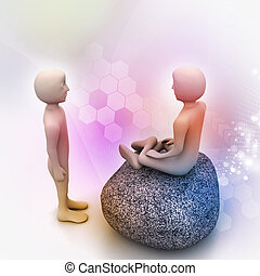 3d people in meditation