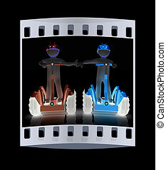 3d people in riding on a personal and ecological transport in helmet and holding hands. The film strip
