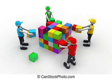 3d people in teamwork