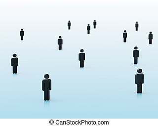 3d people isolated on blue background