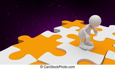 3D People jumping on Puzzle