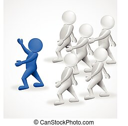 3d people leader business logo