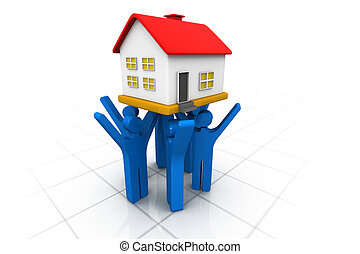 3d people lifting house