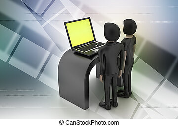 3d people make discussion with laptop