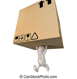3d people man delivering big cardboard box