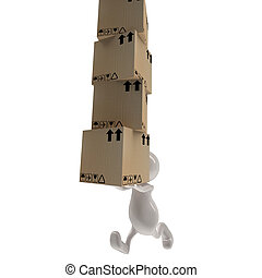 3d people man delivering cardboard boxes
