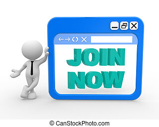 Join now - 3d people - man, people and PC window with a...