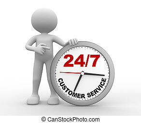 3d people - man, person a clock. Customer service 24/7