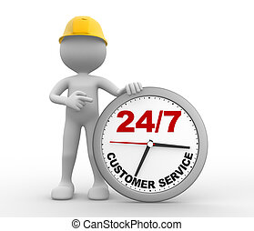 24/7 - 3d people - man, person a clock. Customer service...