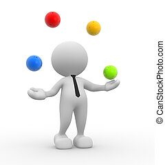 3d people - man, person and a spheres in equilibrium. Jugglery