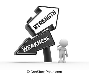 Strength or weakness - 3d people - man , person and arrows....