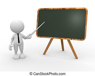 Teacher - 3d people - man, person and backboard. Teacher.