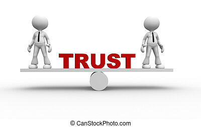 Trust concept - 3d people - man, person and balance. Trust...