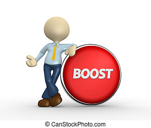 Boost - 3d people - man, person and big button. Boost