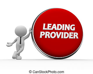 Leading provider - 3d people - man, person and big button. ...