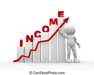 Income - 3d people - man, person and financial graph. Income