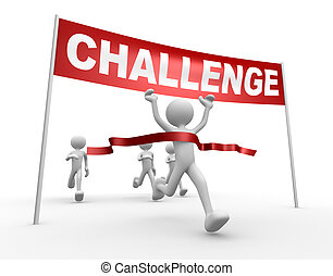 Challenge - 3d people - man, person and finish line....