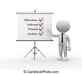 3d people - man, person and flipchart. AIDA (attention, interest, desire, action)