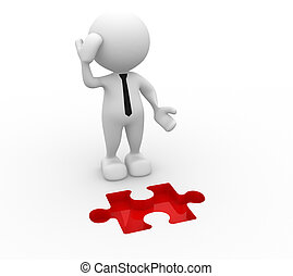 3d people - man, person and pieces of puzzle as a hole. Businessman