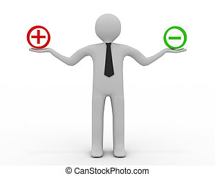 3d people - man, person and sign plus or minus