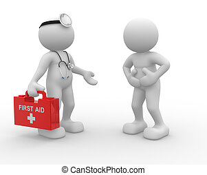 Doctor - 3d people - man, person and stethoscope. Doctor and...