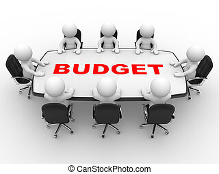Budget - 3d people - man, person at conference table. Budget...