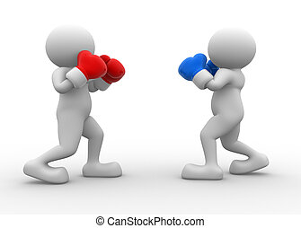 Two boxers - 3d people - man, person during the boxing match...