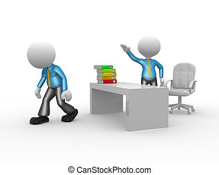 3d people - man, person kicked out of office. Go ahead