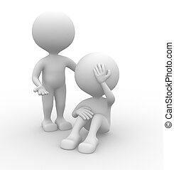 Sad - 3d people - man, person - pain, worried. Sad. Stress...