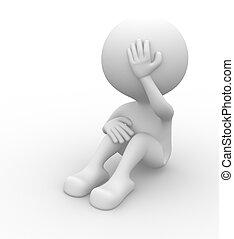 Sad - 3d people - man, person - pain, worried. Sad. Stress ...