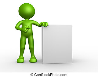 3d people - man, person pointing a blank board
