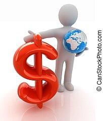 3d people - man, person presenting - dollar with global concept